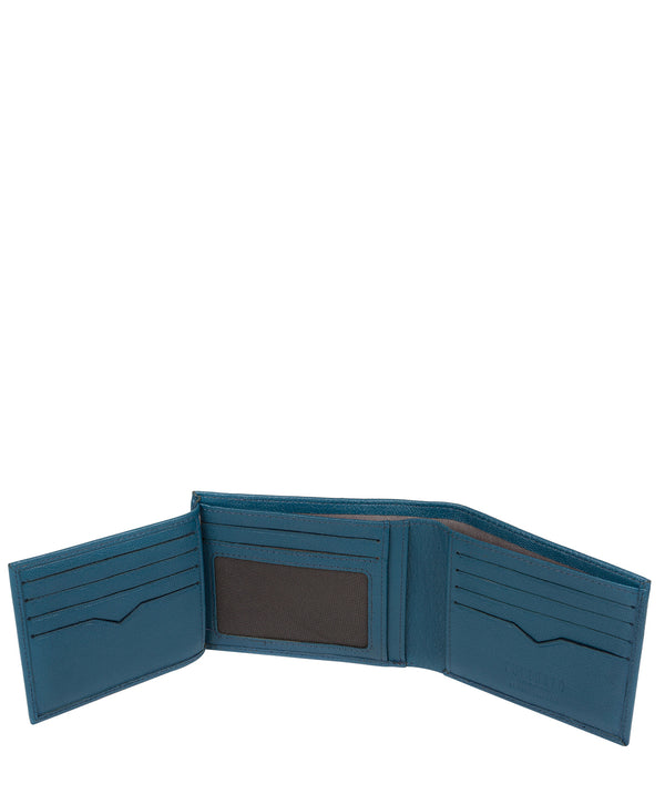 'Victor' Teal Leather Tri-Fold Wallet image 3