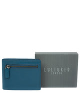 'Victor' Teal Leather Tri-Fold Wallet image 6