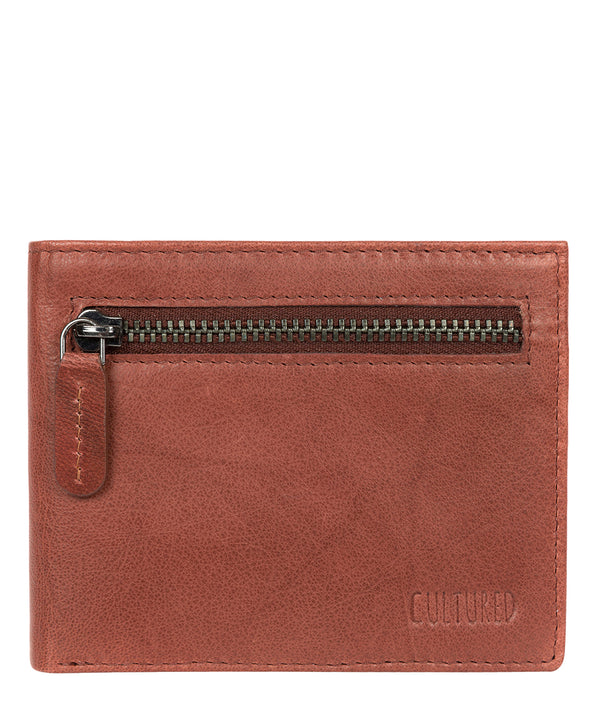'Victor' Vintage Brick Leather Tri-Fold Wallet image 1