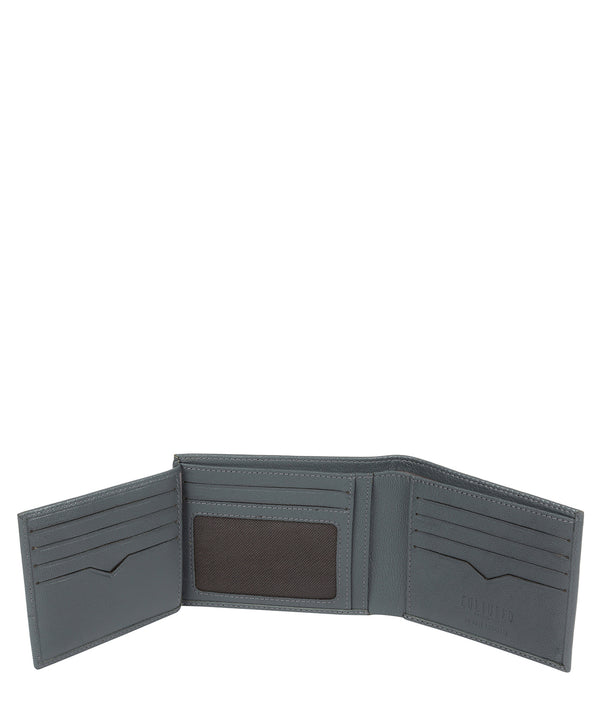 'Niall' Gun Metal Leather Tri-Fold Wallet image 3