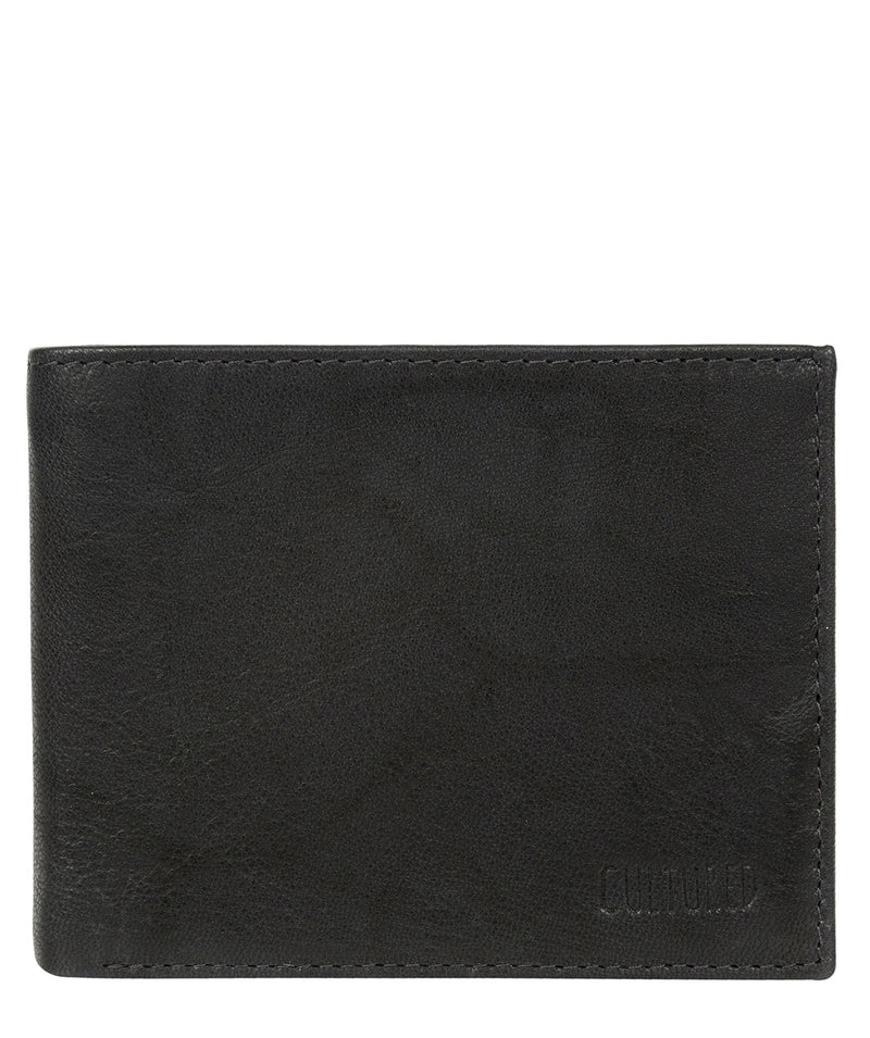 'Niall' Vintage Black Leather Tri-Fold Wallet image 1