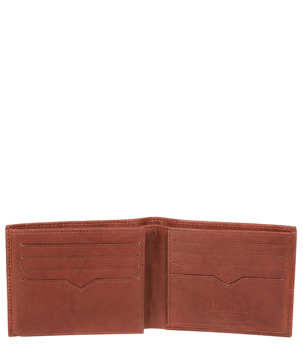 'Niall' Vintage Brick Leather Tri-Fold Wallet image 3
