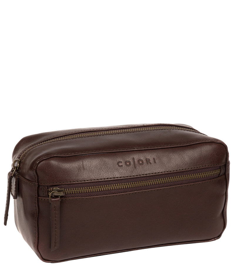 'Como' Italian Inspired Espresso Leather Washbag image 5