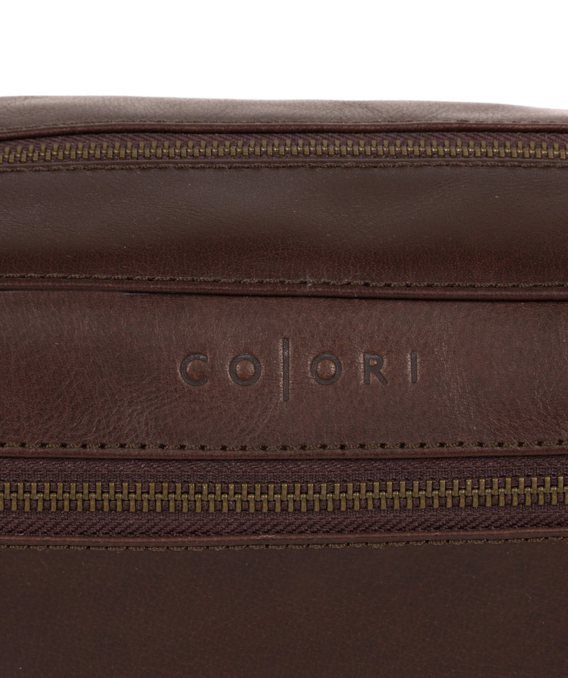 'Como' Italian Inspired Espresso Leather Washbag image 6
