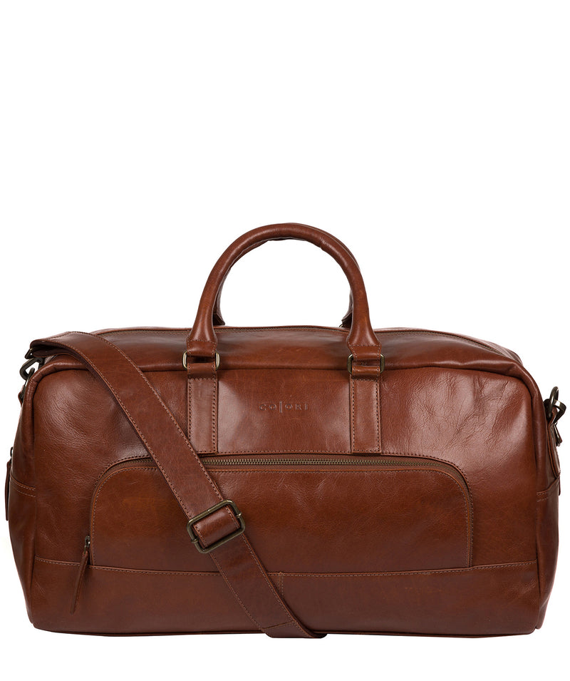 'Giambino' Italian-Inspired Umber Brown Leather Holdall image 1