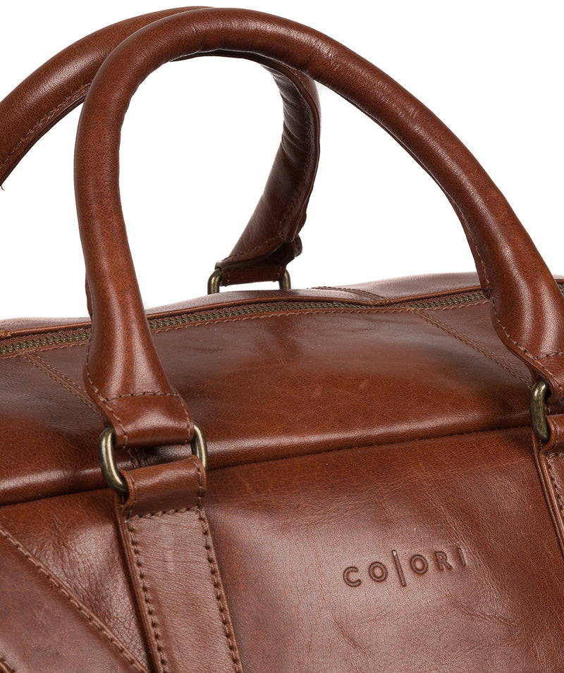 'Giambino' Italian-Inspired Umber Brown Leather Holdall image 6