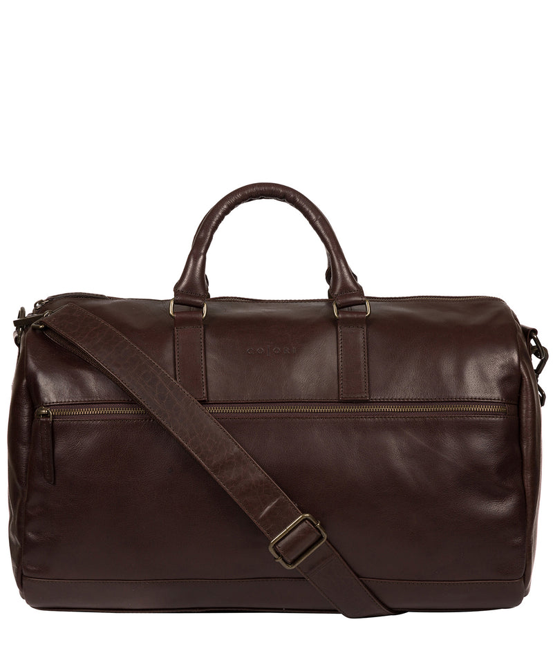 'Lucca' Italian-Inspired Espresso Leather Holdall image 1