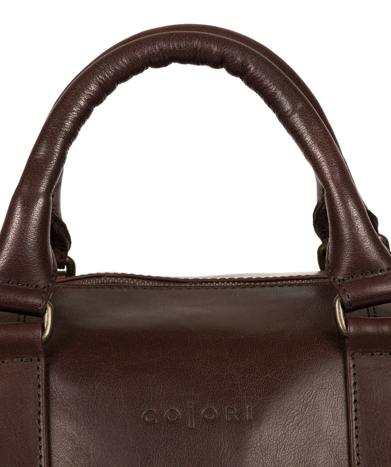 'Lucca' Italian-Inspired Espresso Leather Holdall image 6