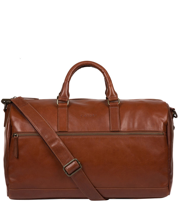 'Lucca' Italian-Inspired Umber Brown Leather Holdall image 1
