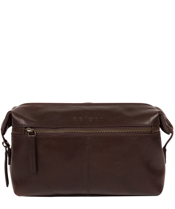 'Morano' Italian-Inspired Espresso Leather Washbag image 1