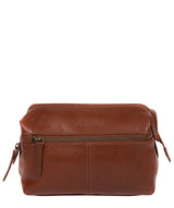 'Morano' Italian-Inspired Umber Brown Leather Washbag image 1