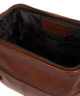 'Morano' Italian-Inspired Umber Brown Leather Washbag image 4