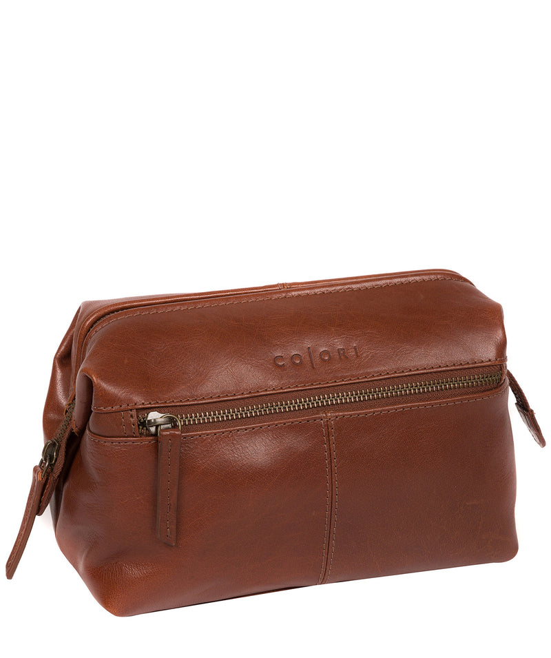 'Morano' Italian-Inspired Umber Brown Leather Washbag image 5