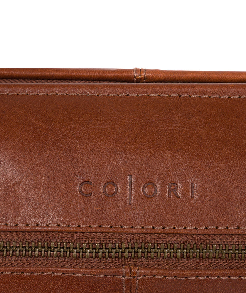 'Morano' Italian-Inspired Umber Brown Leather Washbag image 6