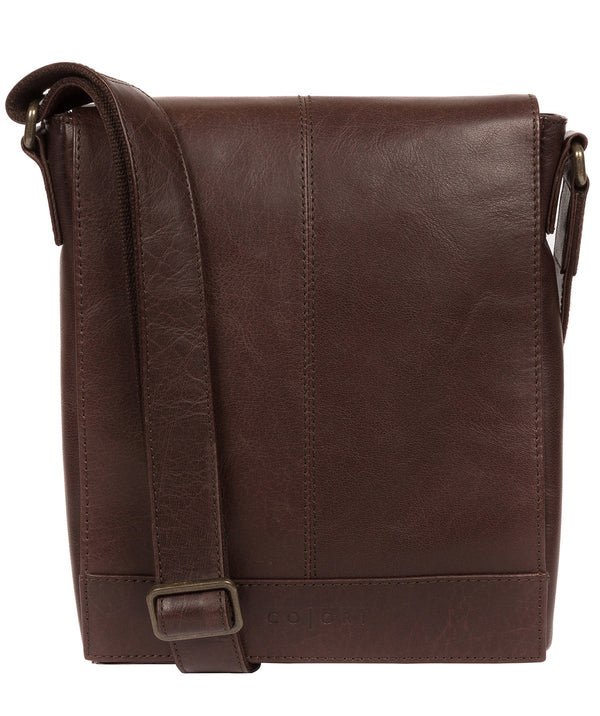 'Zoff' Italian-Inspired Espresso Leather Messenger Bag image 1