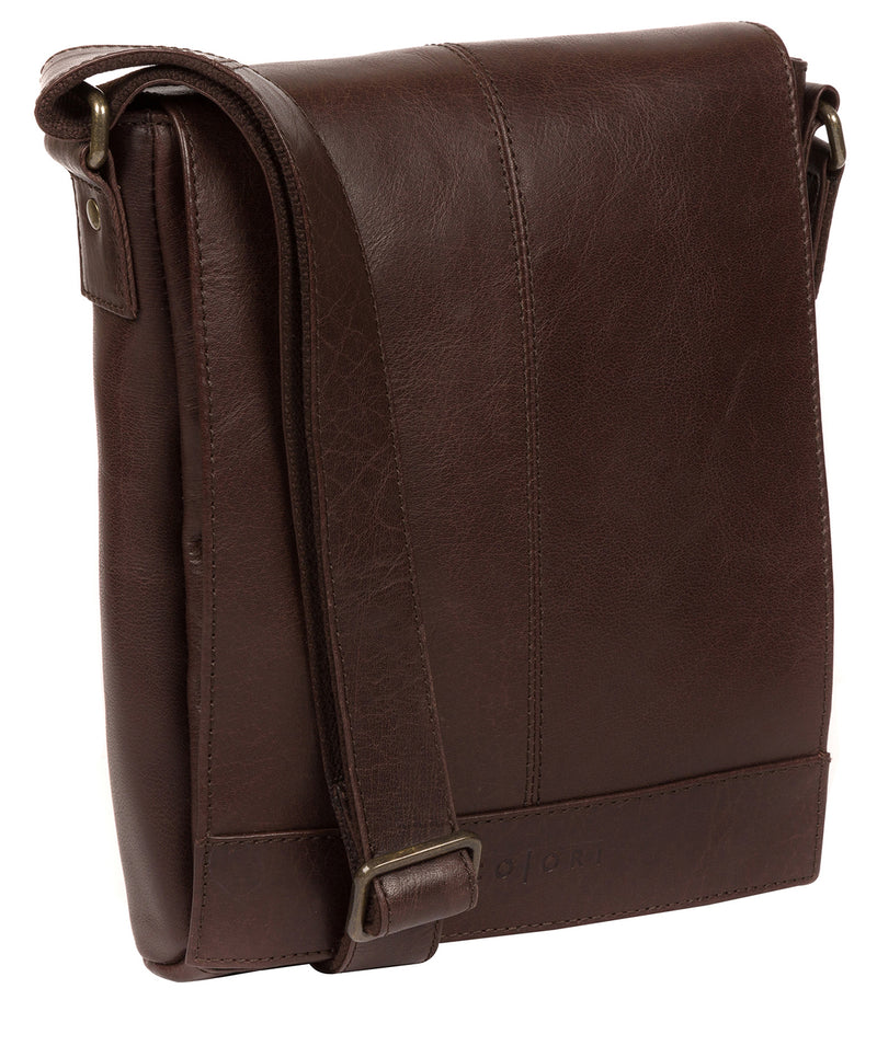 'Zoff' Italian-Inspired Espresso Leather Messenger Bag image 5