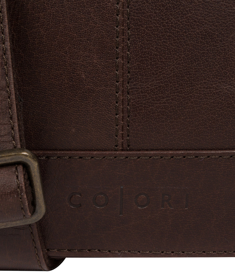 'Zoff' Italian-Inspired Espresso Leather Messenger Bag image 6