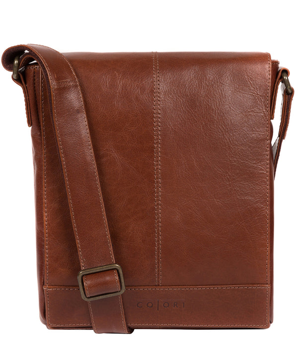 'Zoff' Italian-Inspired Umber Brown Leather Messenger Bag image 1