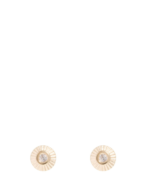 Gift Packaged 'Artemis' 9ct Yellow Gold Cubic Zirconica Stud Earrings