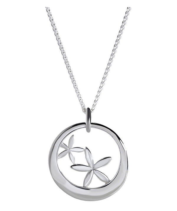'Beatriz' Sterling Silver Floral Echo Pendant Necklace