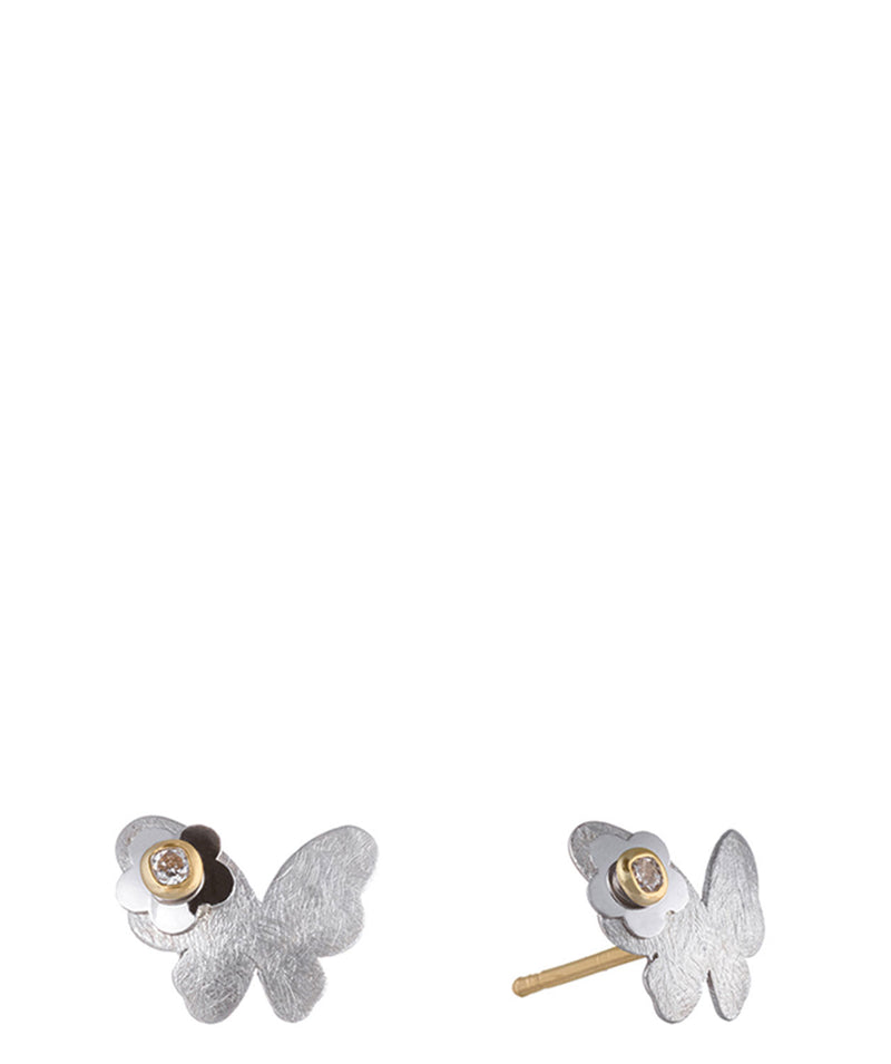 'Khryseis' 9-Carat White Gold & Cubic Zirconia Butterfly Earrings