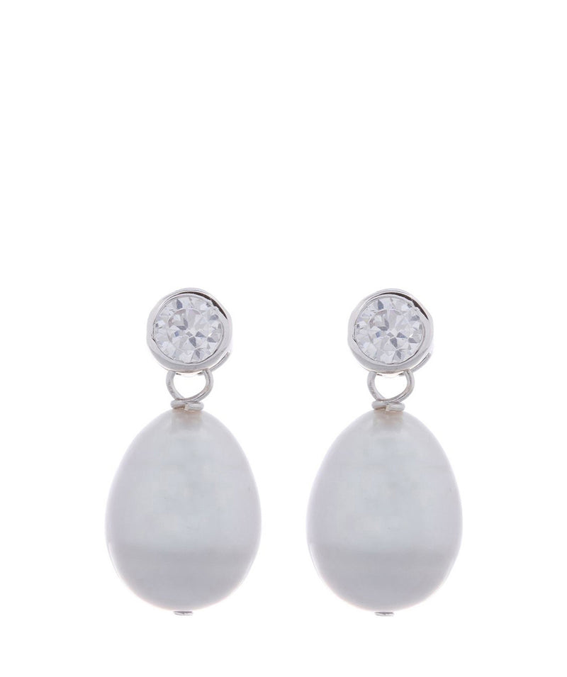 'Belle' 9-9.5mm Grey Cultured River Pearl & Cubic Zirconia Earrings image 1