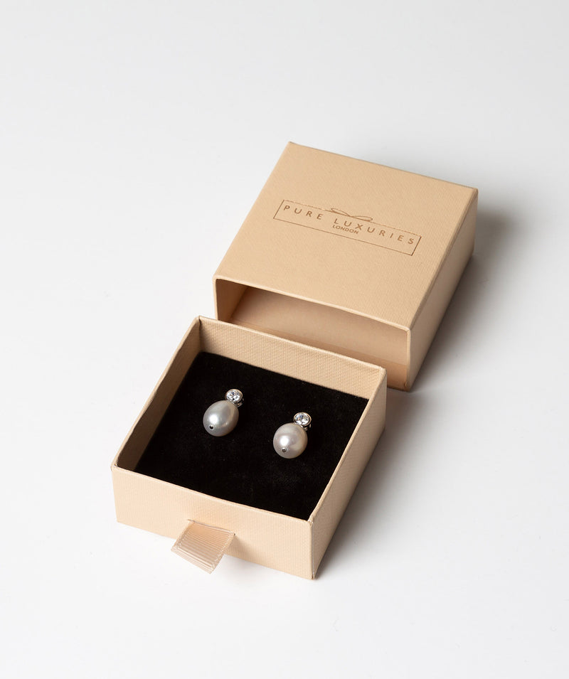 'Belle' 9-9.5mm Grey Cultured River Pearl & Cubic Zirconia Earrings image 3