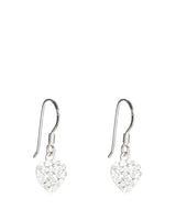 'Riko' Silver Heart Earrings with Crystal