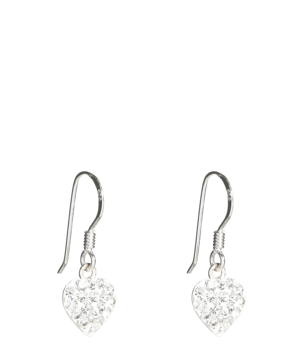 Gift Packaged 'Riko' Silver Heart Earrings with Crystal