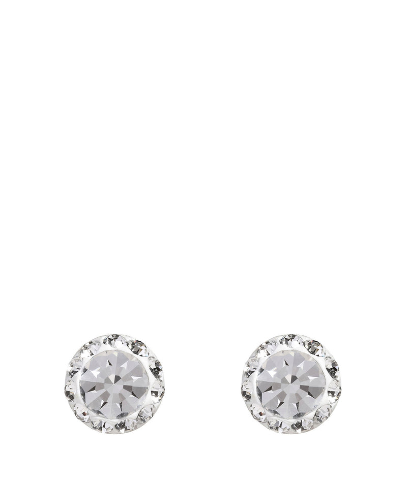 'Pari' Silver Round Ear Studs with Cubic Zirconia image 1