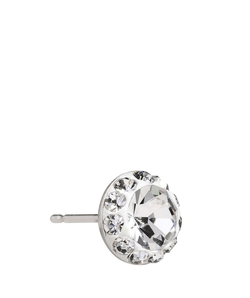 'Pari' Silver Round Ear Studs with Cubic Zirconia image 4
