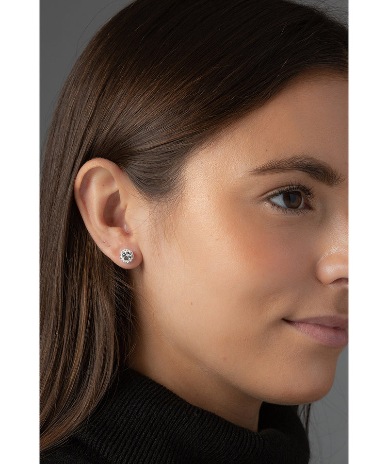'Pari' Silver Round Ear Studs with Cubic Zirconia image 2