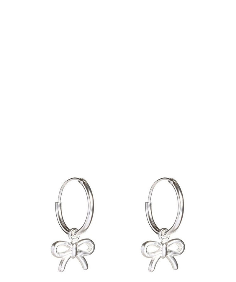 Gift Packaged 'Tora' Sterling Silver Hoop Hanging Bow Earrings
