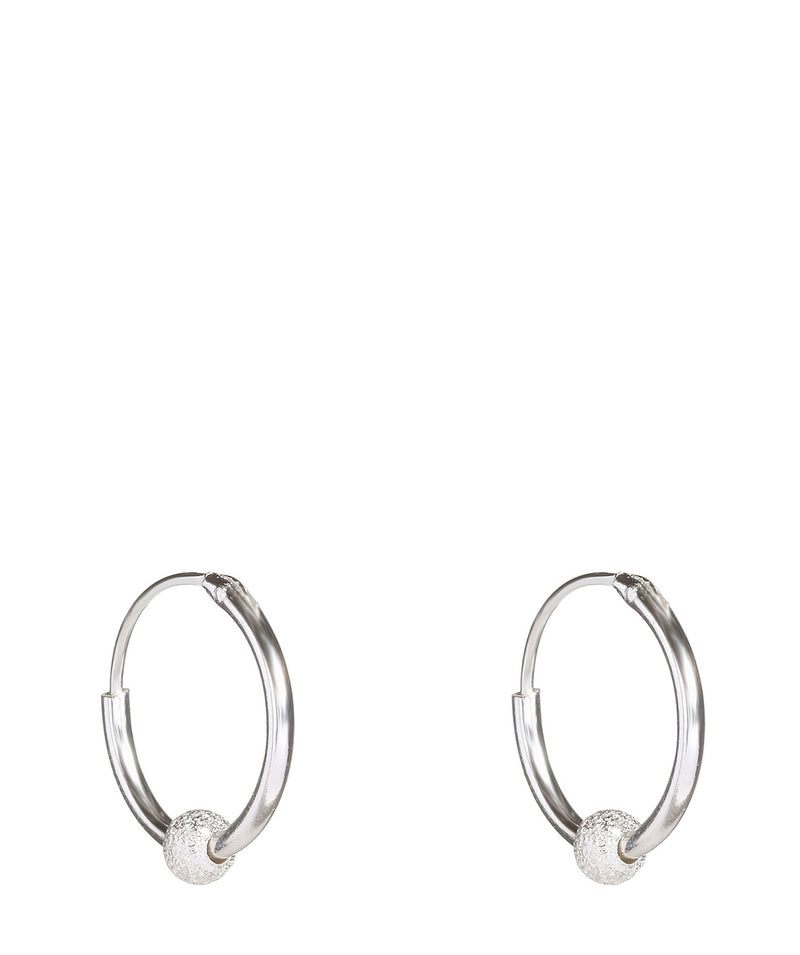 'Mira' Silver Ear Hoops with Hanging Ball