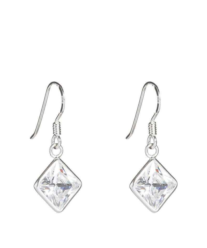 'Herneith' Silver Square Earrings with Cubic Zirconia image 1