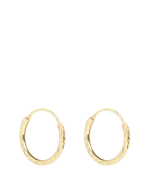 'Chetanzi' Sterling Silver Gold Plated Diamond Cut Hoop Earrings