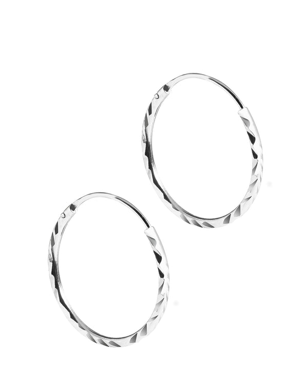 'Raia' Silver Diamond Cut Ear Hoops image 1
