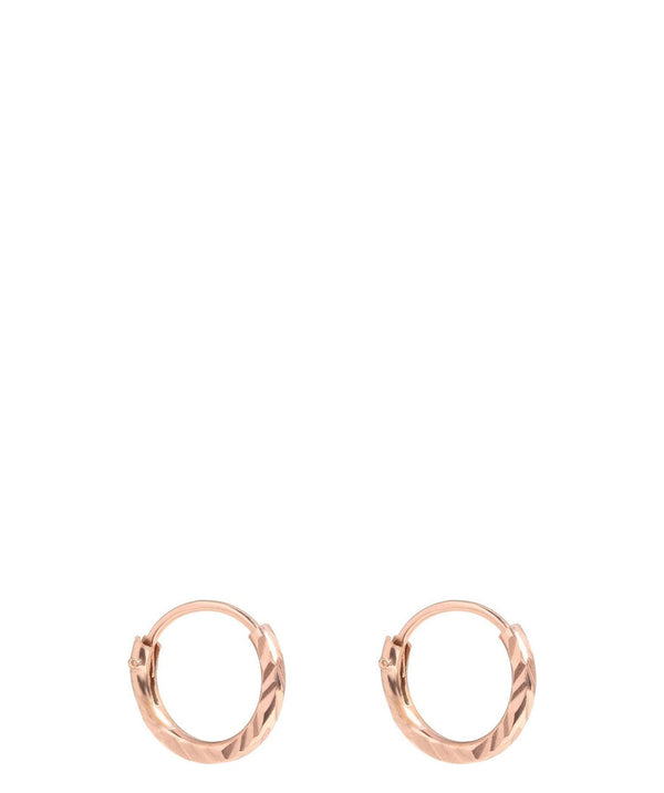 Gift Packaged 'Gift Packaged Khuit' Rose Gold Plated Silver Diamond Cut Ear Hoops