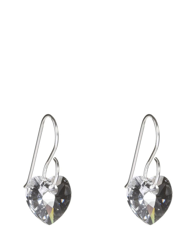 'Aoh' Silver Heart Earrings With Crystals