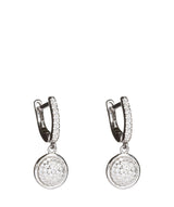 'Hana' Silver Earrings & Hanging Round Cubic Zirconia image 1