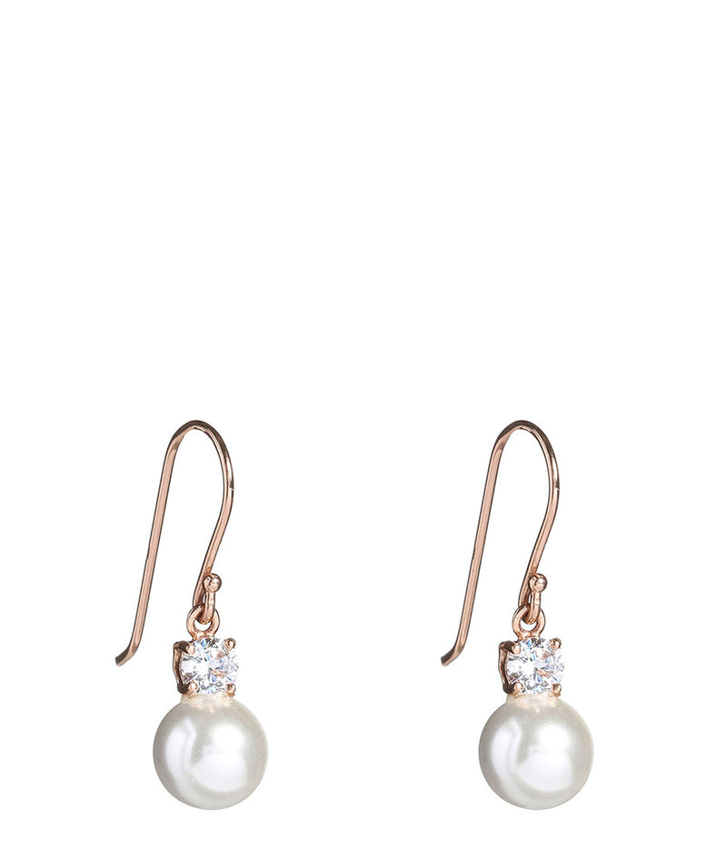 'Hachirou' Silver Dangle Earrings with Cubic Zirconia and Pearl image 1