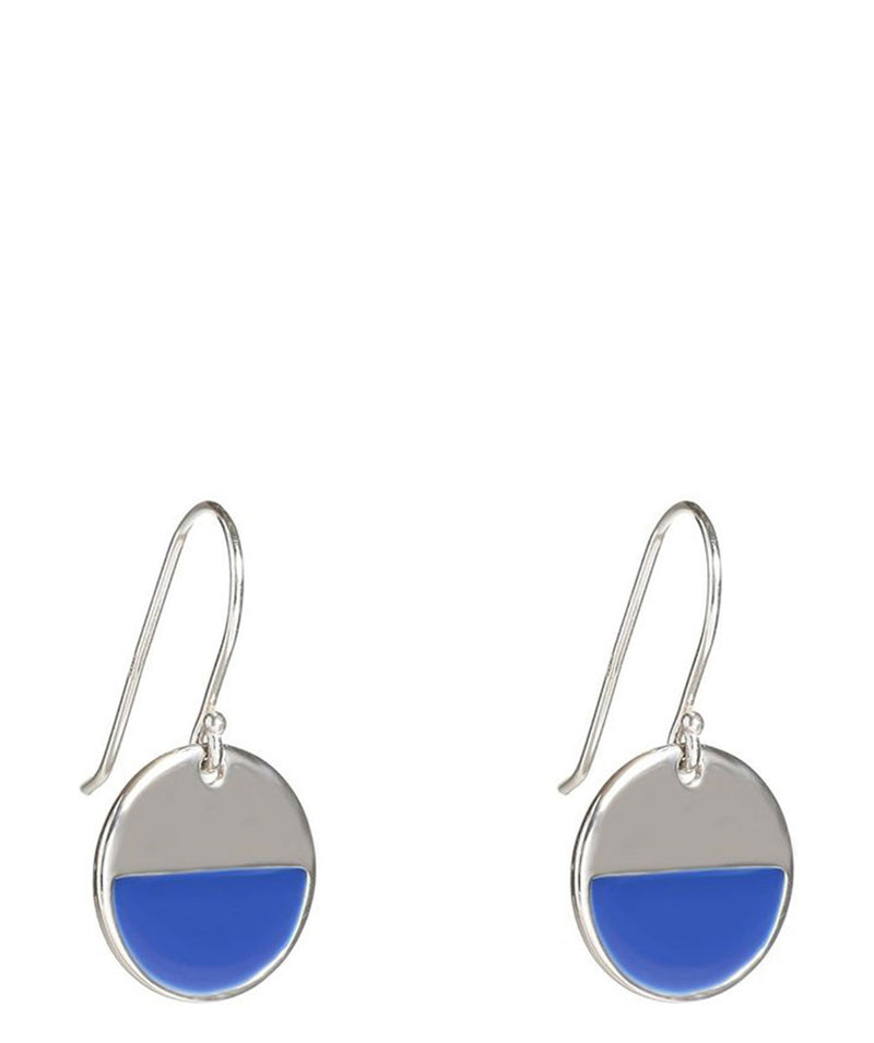 'Bashira' Sterling Silver and Dark Blue Round Earrings
