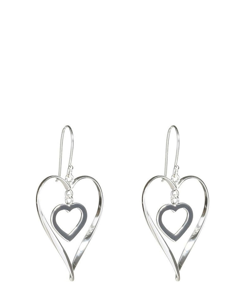'Kaiya' Sterling Silver Hanging Heart Earrings