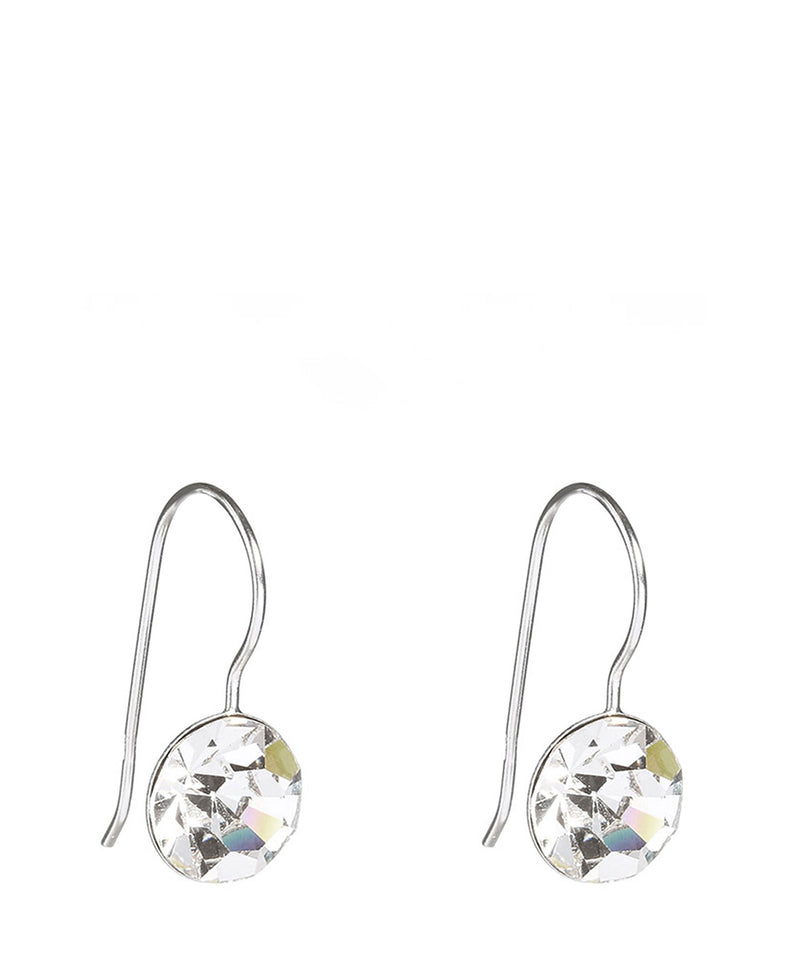 'Midori' Silver Round Earrings with Crystal image 1