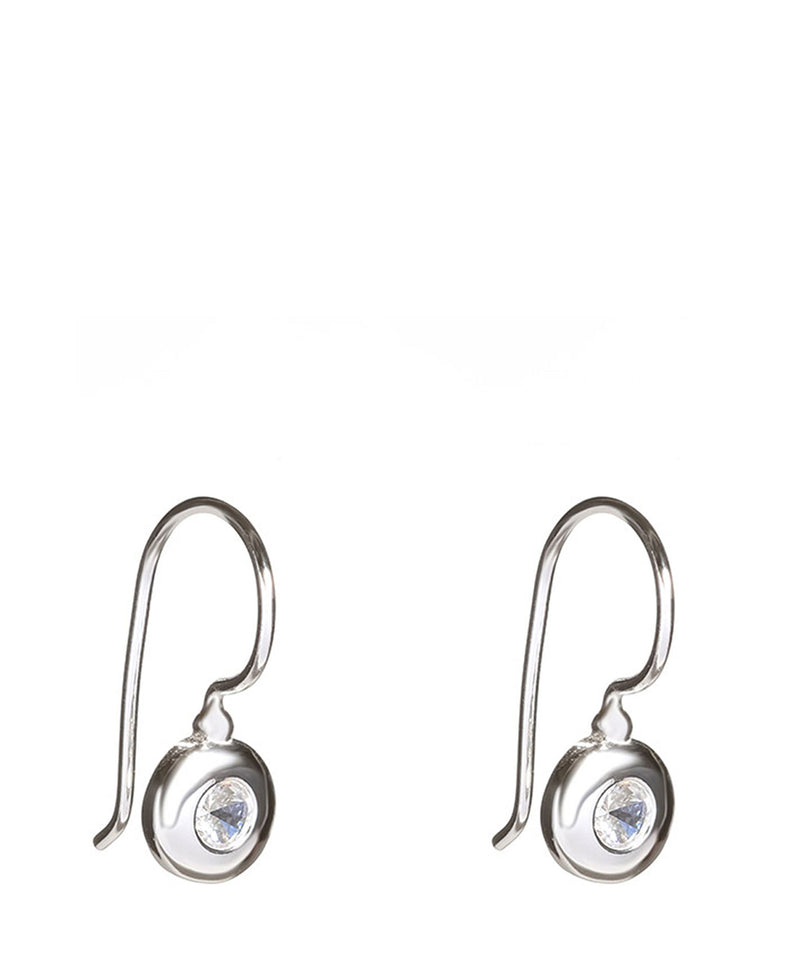 'Sora' Silver Round Earrings with Cubic Zirconia image 1