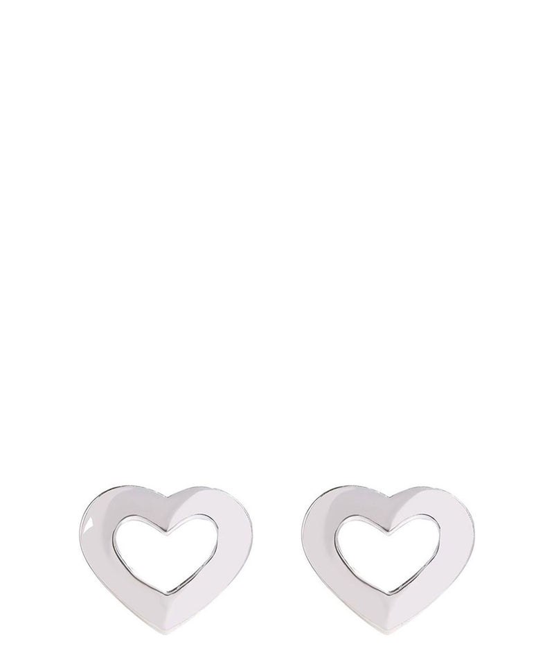 'Keitaro' Sterling Silver Heart Outline Earrings