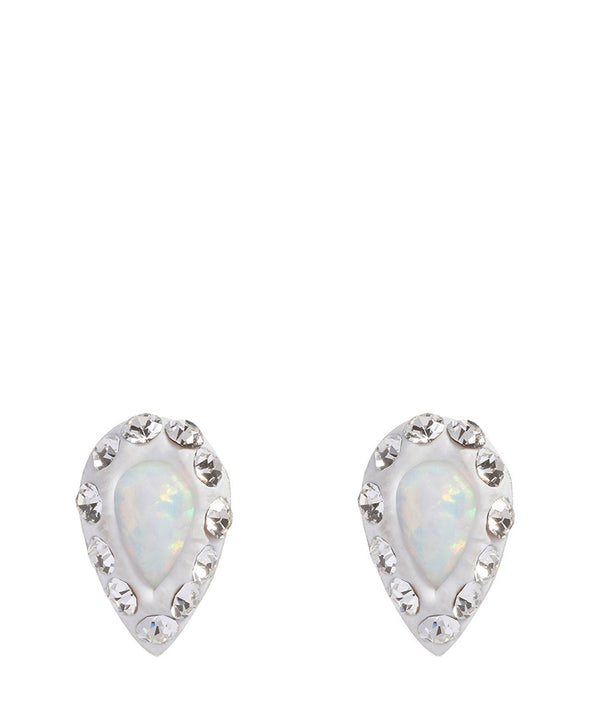 'Tazanna' Sterling Silver with Crystal and Opal Pear Earrings image 1