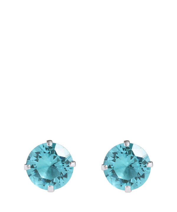Round Silver Ear Studs with Aqua Cubic Zirconia image 1