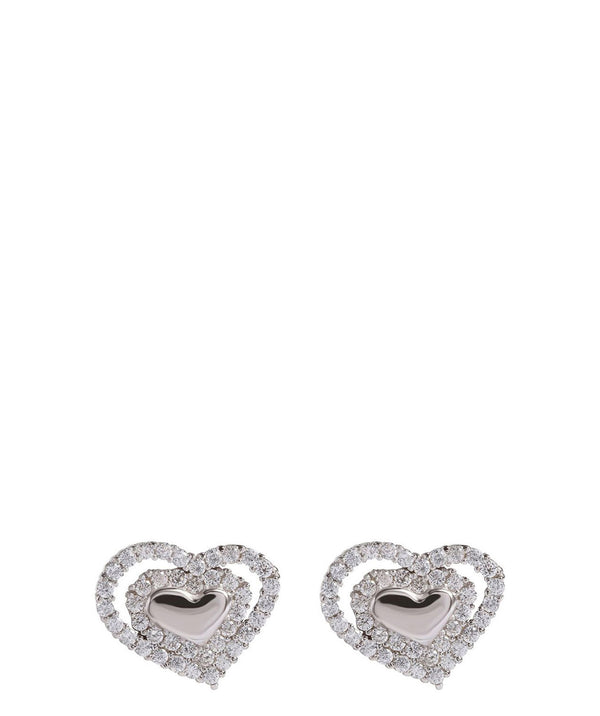 Gift Packaged 'Samorn' Sterling Silver & Cubic Zirconia Heart Earrings