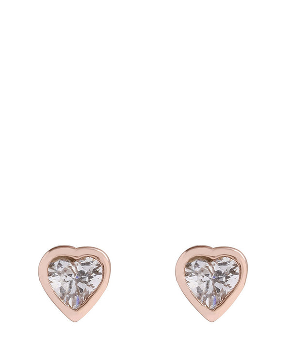'Usha' Rose Gold Plated Silver Heart Ear Studs with Cubic Zirconia image 1